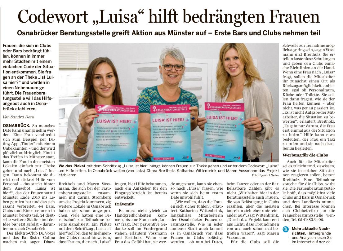 Codewort Luisa hilft bedrängten Frauen